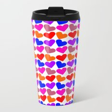 Colorful Hearts Pattern Metal Travel Mug