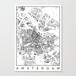 Amsterdam Map Schwarzplan Only Buildings Canvas Print