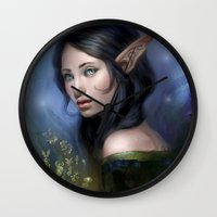 magical girl Wall Clocks featuring Magical girl by Maximko