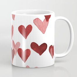 Valentine's Day Watercolor Hearts - red Coffee Mug