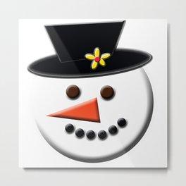 Snowman Head Digital Art Metal Print