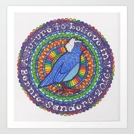 Bernie Sanders Birdie Mandala  Art Print