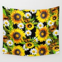 sunflowers Wall Tapestries featuring Sunflowers by Saundra Myles