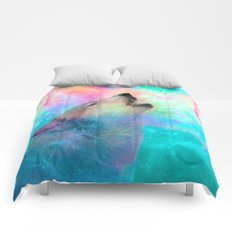 Breathing Dreams Like Air (Wolf Howl Abstract) Comforters
