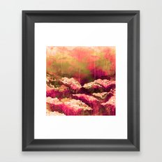 IT'S A ROSE COLORED LIFE 2 - Colorful Floral Garden Chic Abstract Pink White Olive Green Painting Framed Art Print