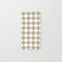 Large Diamonds - White and Khaki Brown Hand & Bath Towel