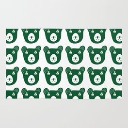 Dark green bear illustration Rug