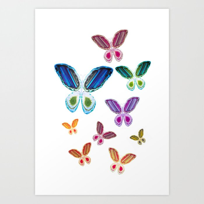 A Rainbow of Agate Butterflies Kunstdrucke