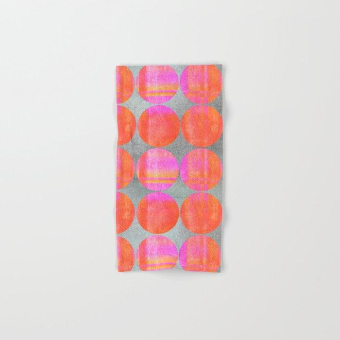orange dots grunge mixed media modern pattern Hand & Bath Towel