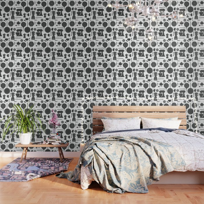 Kitchen Tools (black on white) Wallpaper