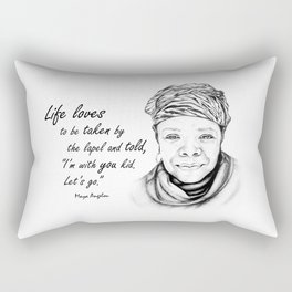 Maya Angelou Quote - Take Life by the Lapels - Art and Apparel Rectangular Pillow