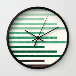 Deep Green Aquamarine Minimalist Mid-century Modern Stripe Pattern Art Staggered Stripes Wall Clock