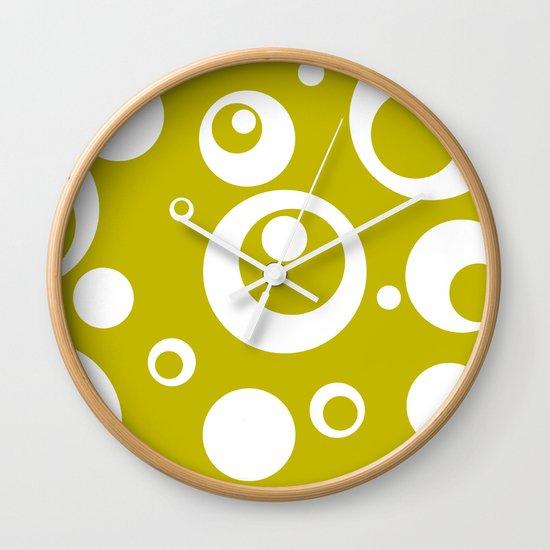Circles Dots Bubbles :: Citron Wall Clock