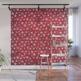 White stars on red grunge textured background Wall Mural