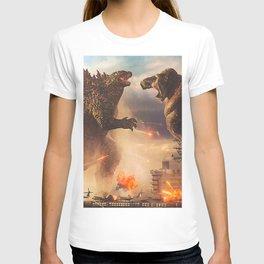 Godzilla vs King Kong Moster Fight Movies Art Print Decor Home Poster Full Size T-shirt
