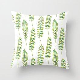 Watercolour Fern Pattern | Original Green Throw Pillow