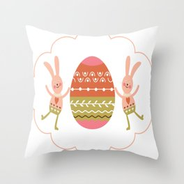 Rabbit - Colorful Throw Pillow illustration Throw Pillow