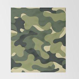 Camouflage Camo Green Tan Pattern Throw Blanket