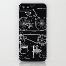 Vintage Bicycle patent illustration 1890 iPhone Case