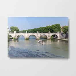 Tourist boat passes under Ponte Sant'Angelo in Rome - Italy Metal Print