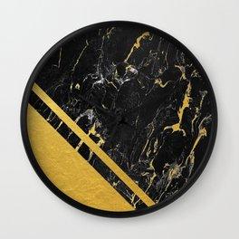 Gold Corner Black Marble Wall Clock