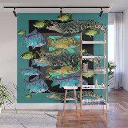 FISH DINNER & HUNGRY ALLIGATORS BLUE ART Wall Mural