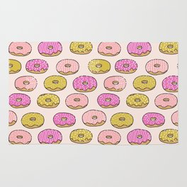 Donuts pattern pink doughnut cute food print by andrea lauren Rug