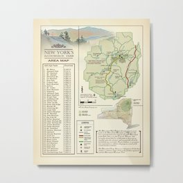 New York State Adirondack/High Peaks table [vintage inspired] Map print Metal Print