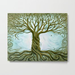Blue and Brown Swirly Tree of Life by Renee Womack Metal Print