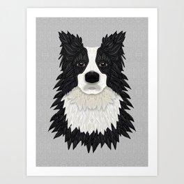Black Border Collie Art Print
