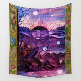 Black Sun Alchemy, Antique Alchemy Illustration Collage Wall Tapestry