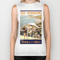 hong kong Biker Tanks featuring HONG KONG by Kathead Tarot/David Rivera