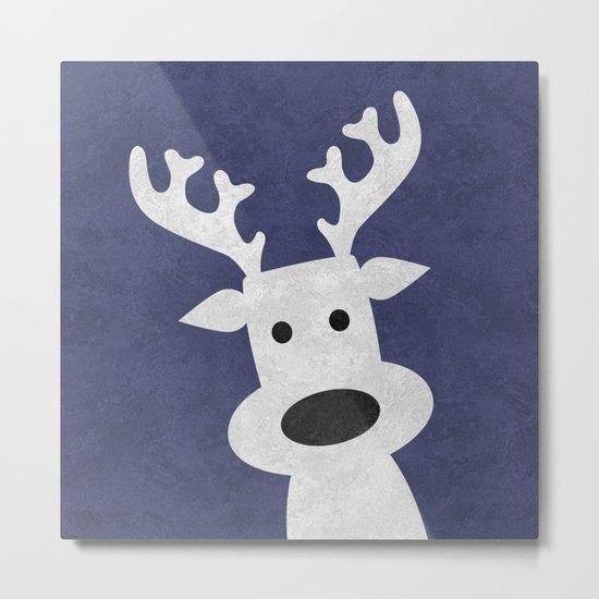 Christmas reindeer blue marble Metal Print