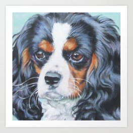 Beautiful Tricolour Cavalier King Charles Spaniel Dog Painting by L.A.Shepard Art Print