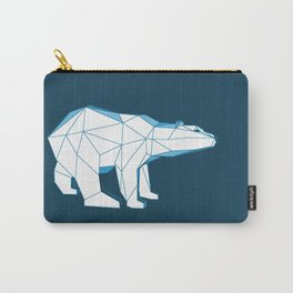 Blue geo polar bear looking for love.. Carry-All Pouch