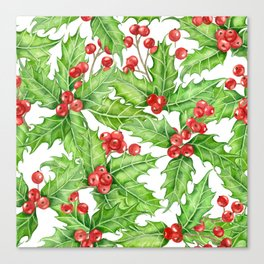 Holly berry watercolor Christmas pattern Canvas Print