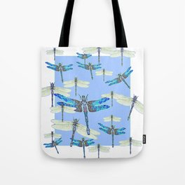 BLUE & GOSSAMER WHITE  DRAGONFLY SEASON ART Tote Bag