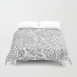 Marigold Lino Cut, Cloud Grey Duvet Cover