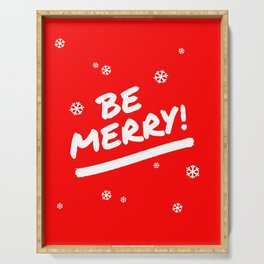 Bright Red Be Merry Christmas Snowflakes Serving Tray