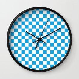 Oktoberfest Bavarian Large Blue and White Checkerboard Wall Clock