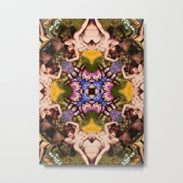 Floral abstract rennaisance pattern with angels kissing Metal Print