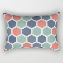 Honeycomb Geometrics, Vintage, Throw-Pillows, Art-Prints Rectangular Pillow