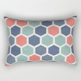 Honeycomb Geometrics, Vintage, Throw-Pillows, Art-Prints Rectangular Pillow