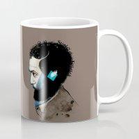 stanley kubrick Mugs featuring Stanley Kubric by Tat Georgieva