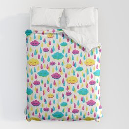 Bright Screenprint-Style Rainstorm with Cute Clouds Comforters
