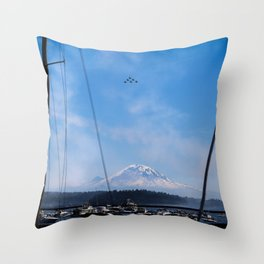 Angels Over Rainier Throw Pillow