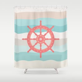 AFE Coral Helm Wheel, Nautical Art Shower Curtain