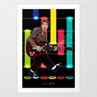 marty mcfly Art Prints featuring Marty McFly plays Guitar Hero by Akyanyme