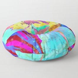 Fluorescent Watercolor Iris Art - Purple & Aqua Blue Floor Pillow