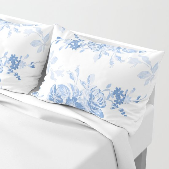 Modern navy blue white watercolor elegant floral by pink_water